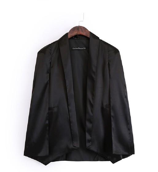 Модный асимметричный черный полиэфирный блейзер