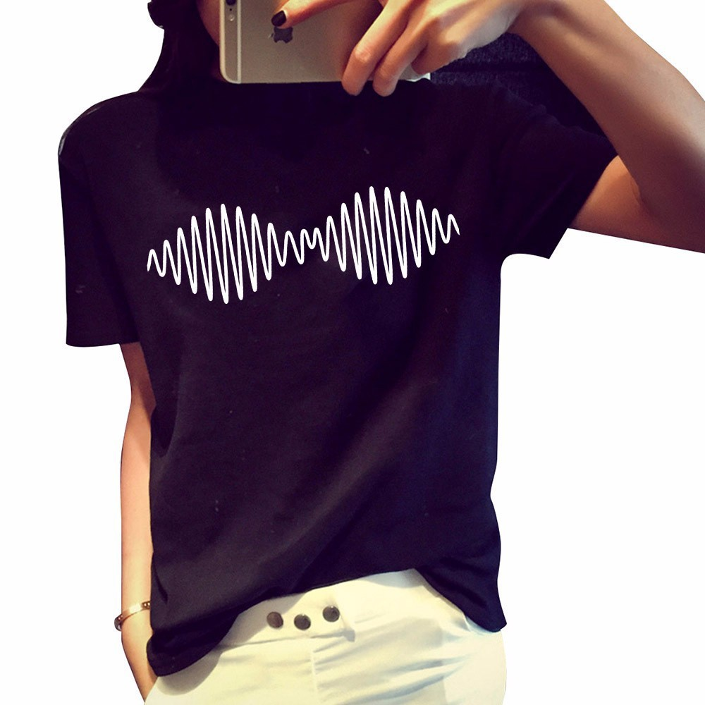 Casual O Neck Short Sleeves Print Black Cotton Blend T-shirt