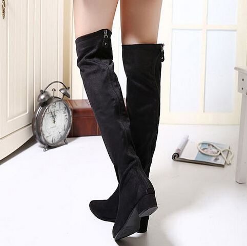 Fashion Pointed Toe Zipper Design Flat Mid Heel Black PU Knee High Boots