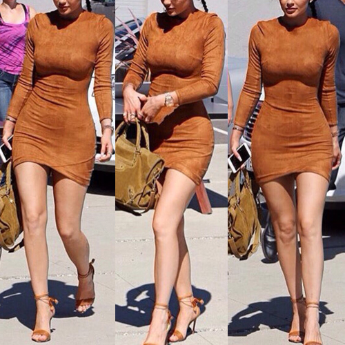 Fashion O Neck Long Sleeves Brown Sheath Mini Womens Dress