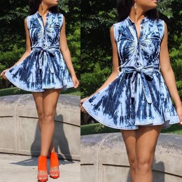Stylish Turndown Collar Tank Sleeveless Print Blue Spandex Mini Dress
