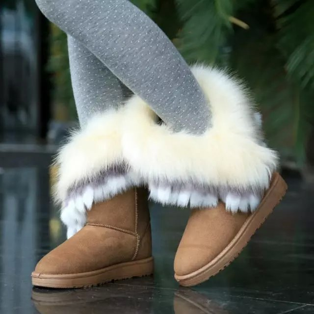 Winter Fashion Round Toe Feathers Decorated Slip-on Flat Low Heel Khaki PU Mid Calf Snow Boots