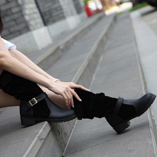 Spring Autumn  Round Toe Flat Mid Heel Black PU Slip On Mid Calf Buckle Cavalier Boots