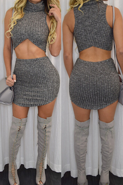 Sexy Turtleneck Sleeveless Grey Cotton Blend Two-piece Skirt Set