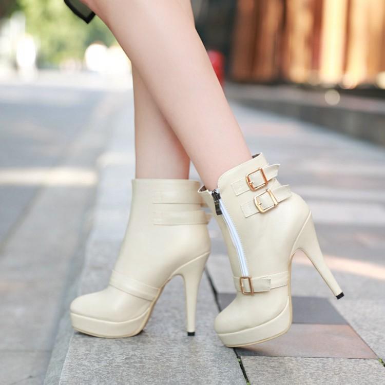 Spring Autumn Fashion Zipper Design Stiletto Super