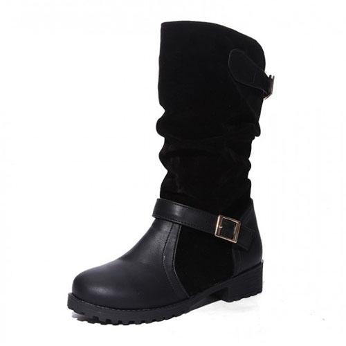 Spring Autumn Round Toe Flat Mid Heel Black PU Sli