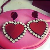 Fashion Heart Shaped Red Acrylic Earrings