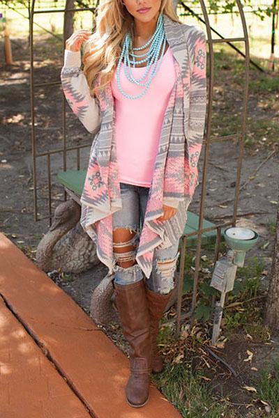 Fashion Print Long Sleeves Cotton Blends Long Cardigan