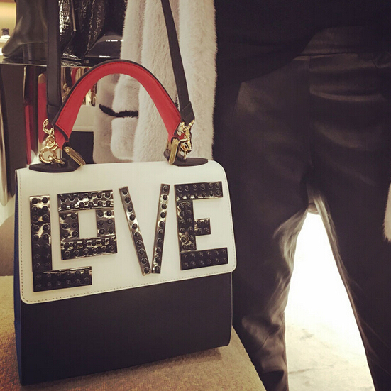 Fashion Hasp Design Patchwork Love Patterned Blue-red PU Clutches Bag