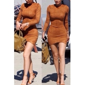 Fashion O Neck Long Sleeves Brown Sheath Mini Wome
