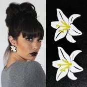 Fashion Orchid Shaped Acrylic Earrings