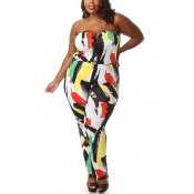 Sexy Strapless Sleeveless Multi-colored Print Poly