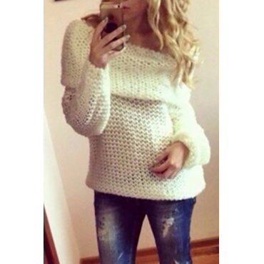 Fashion Bateau Neck Long Sleeves White Cotton Blend Regular Pullover Sweater
