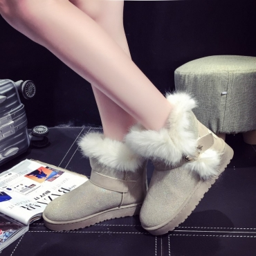 Winter Fashion Round Toe Slip Buckle Strap Flat Low Heel Beige PU Short Snow Boots