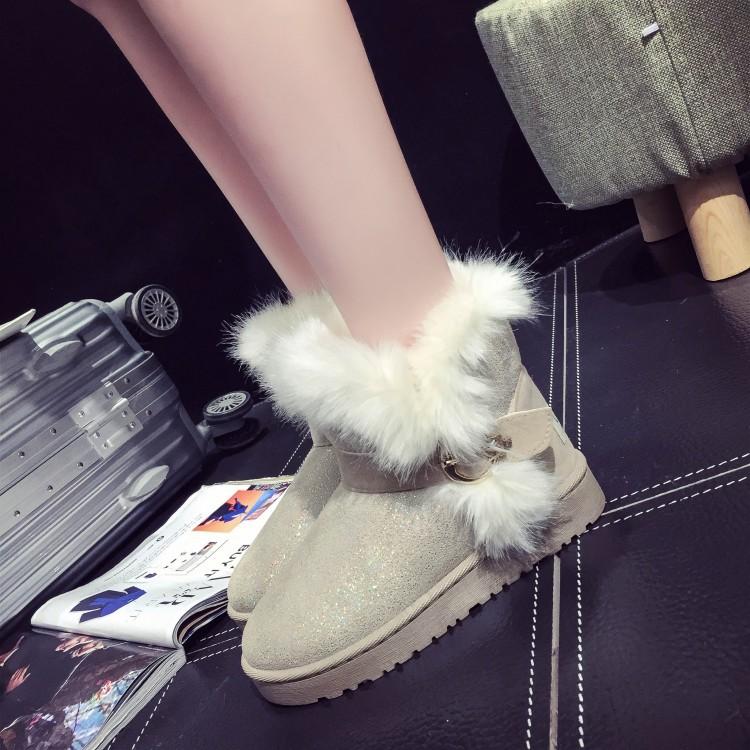 Winter Fashion Round Toe Slip Buckle Strap Flat Low Heel Beige PU Short Snow Boots