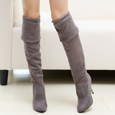 Зимняя мода Round Toe Slip на Stiletto High Heel Grey Замша над коленными сапогами