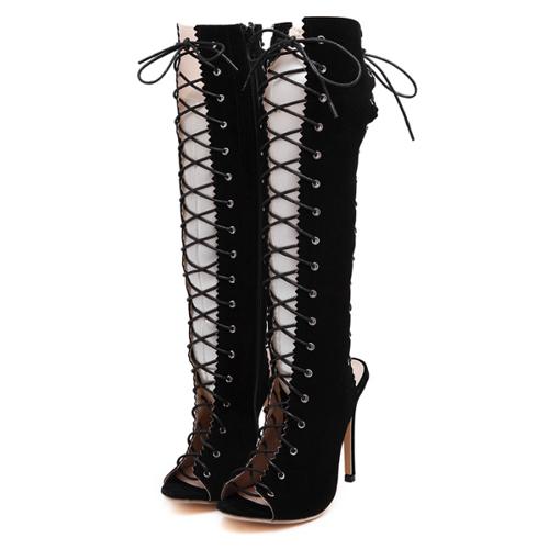 El resorte redondo del otoño de la primavera diseña de la cremallera del dedo del pie ata para arriba talones estupendos del alto talón del estilete alto negro de la rodilla sandalias
