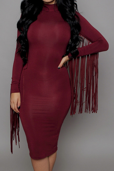 Stand Collar Dress Designs : Sexy stand collar tassel design long sleeve solid color