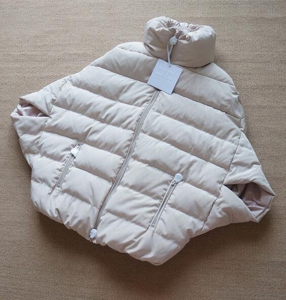 Fashion Mandarin Collar Long Sleeves Zipper Design khaki Polyester Cape type Down Jacket