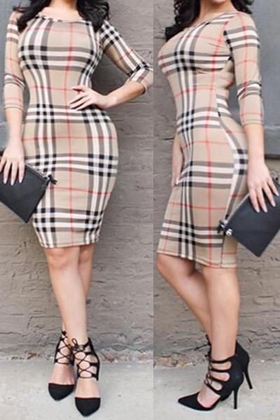 Повседневная O шеи с половиной рукавов Плеи Пэчворк бежевый полиэстер оболочка мини платье