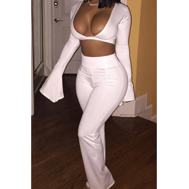 Sexy V Neck Long Sleeves White Cotton Blend Two-piece Pants Set Sheath Loose Pants