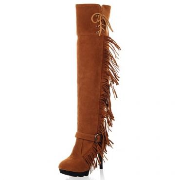 Moda invierno redondo dedo del pie estilete super alto tacones amarillo PU deslizamiento sobre la rodilla botas de borla