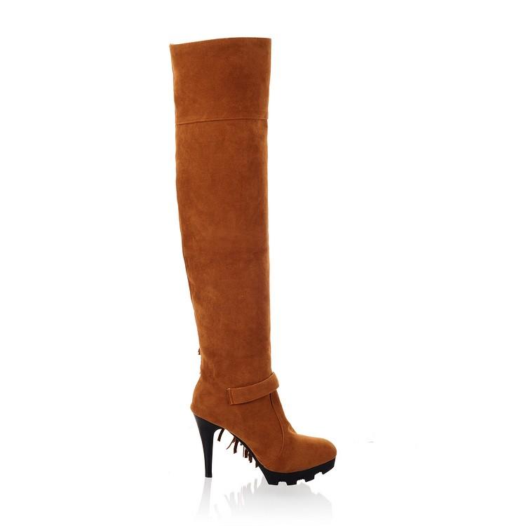 Fashion Winter Round Toe Stiletto Super High  Heels Yellow PU Slip On Over the Knee Tassel  Boots
