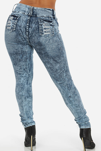 Stylish Mid Waist Hollow-out Design Blue Denim Skinny Jeans