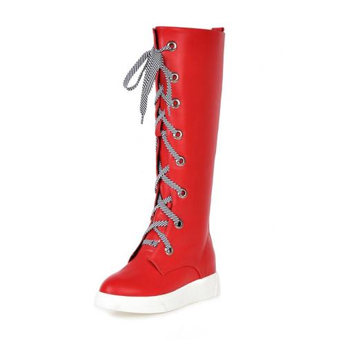 Мода Весна Осень Круглый Toe Lace Up Плоский Низкий пятки Красный PU Колено Высокие сапоги