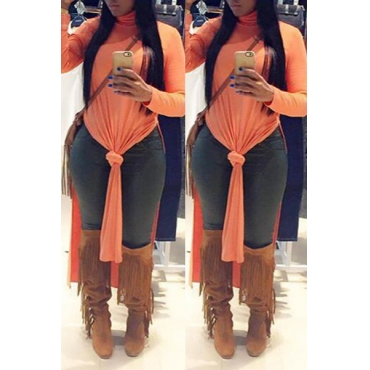 Casual Turtleneck Long Sleeves Side Split Orange Qmilch Knee Length Dress