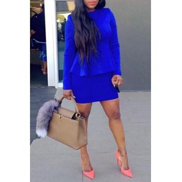 Casual O Neck Long Sleeves Flouncing Design Blue Sheath Mini Peplum Dress