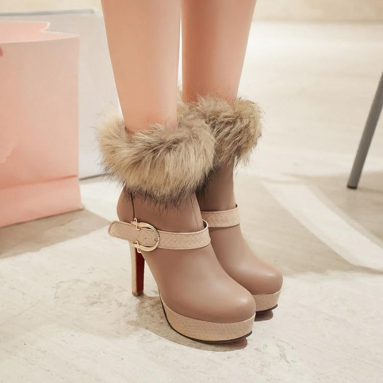 Winter Round Toe Buckle Zipper Design Stiletto Super High Heel khaki PU Ankle Martin Boots