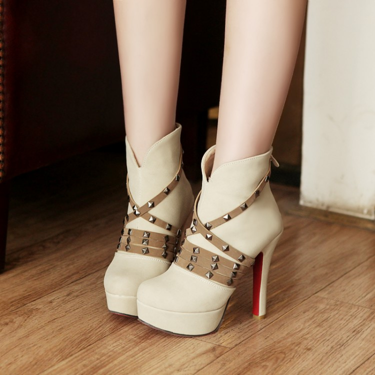 Invierno Round Toe Back Zipper remache decorado stiletto Super High Heel beige PU tobillo Martin botas