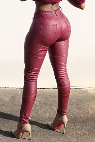 Fashion Mid Waist Button Fly Ruffles Design Red PU Skinny Pants