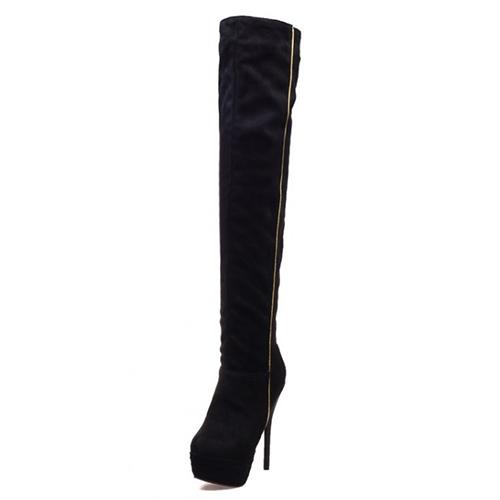 Moda invierno Round Toe Slip On Patchwork Stiletto Super Alto Talón Negro PU Sobre La Rodilla Cavalier Botas