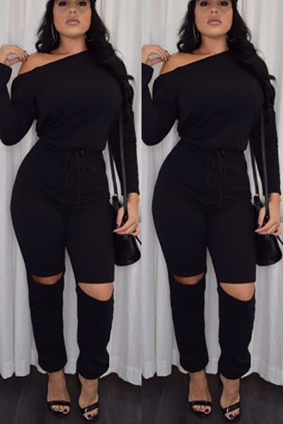 Casual O Neck Long Sleeves Broken Holes Black Qmilch One ...