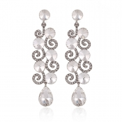 Fashion Water Drop Shaped White Silver Crystal Ear