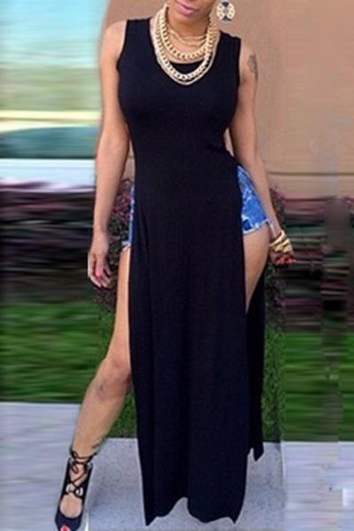 Sexy O Neck Tank Sleeveless Waist Ankle Length Black Polyester Dress