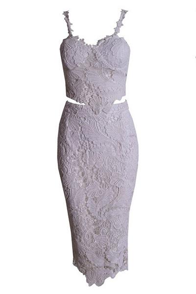 White Lace Sleeveless Knee Length Dress