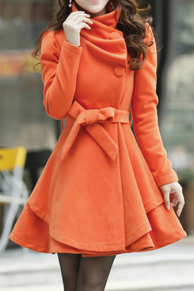 Cheap Sweet Style Turndown Collar Long Sleeves Single-breasted Orange Woolen Long Trench Coat