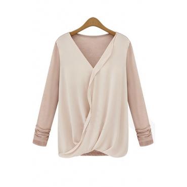 Cheap Sexy V Neck Long Sleeves Knitting Patchwork Pink Chiffon Shirt