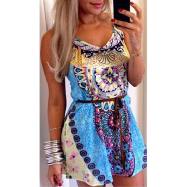 Vintage O Neck Spaghetti Strap Sleeveless Patchwork Print Blue Polyester Mini Dress