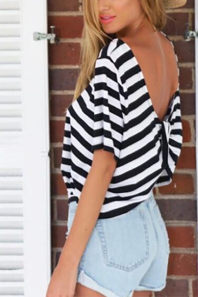Cheap Backless Striped Back-white Blending O Neck Long Sleeves  T-shirt