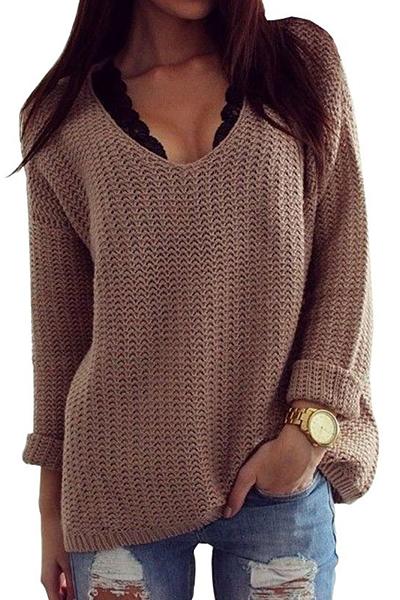Fashion O Neck Long Sleeves Acrylic Pullover