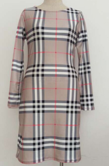 Casual O Neck Half Sleeves Plaids Patchwork Beige Polyester Sheath Mini Dress
