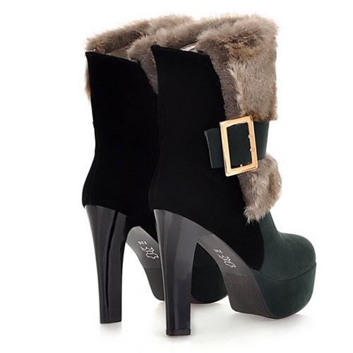 Fashion Winter Round Toe Slip On Buckle Chunky Super High Heel Green PU Short Martin Boots