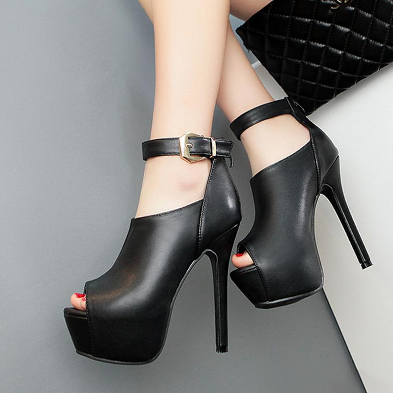 Stylish Round Peep Toe Buckle Design Super High Heel Black PU Ankle Strap Pumps