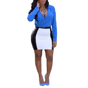 Fashion  Color Block V Neck Long Sleeves Blue Blue Blending  Two-piece Outfits