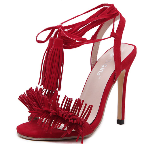 Stylish Lace-up Tassel Design Stiletto Super High Heel Red PU Ankle Strap Sandals