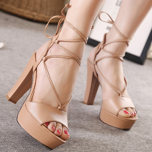 Stylish Open-toed Lace-up Hollow-out Chunky Super High Heel Apricot PU Ankle Wrap Sandals